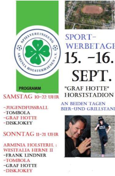Gerade noch auf der Showbühne bei VOX- morgen schon Sport-Werbetage bei der Arminia Holsterhausen
