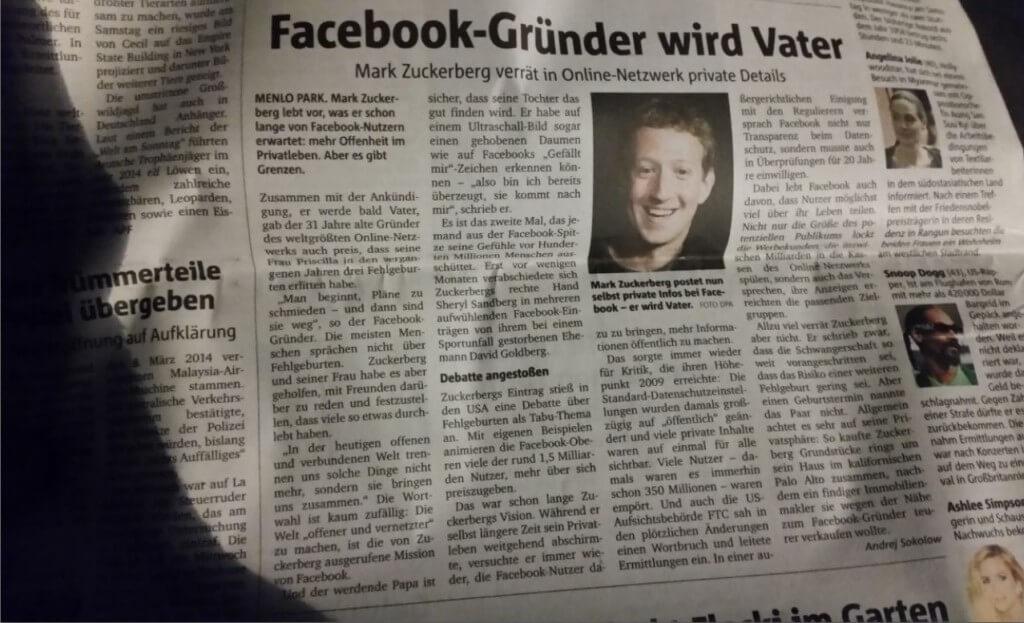 Facebook Zeitung Zuckerberg Bullshit