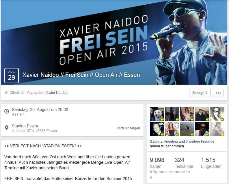 Xavier Naidoo Facebook Frei Sein Konzerte