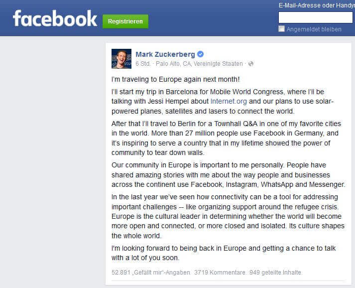 Blogger Wochenanfang & Zuckerberg nach Deutschland