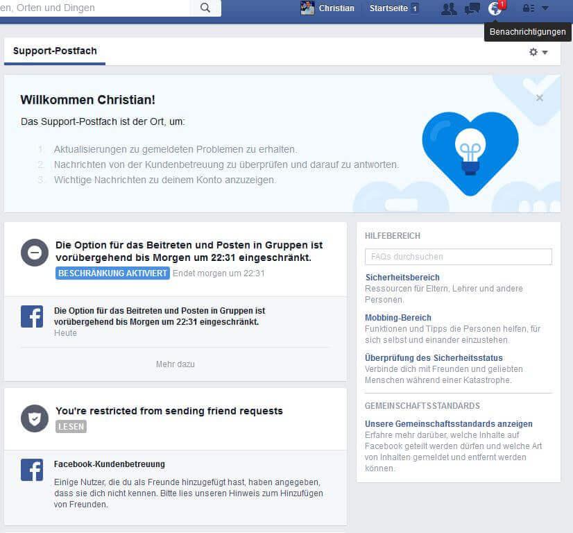 Facebook-Konto für Blogger gesperrt