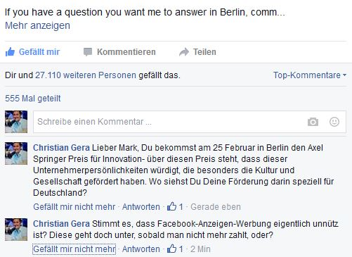 Freizeitcafe Zuckerberg Fragen