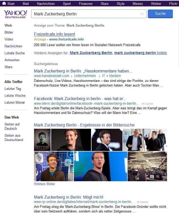 Yahoo Startseite für unseren Freizeitcafe.info Blog