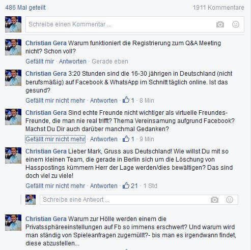 Zuckerberg Q&A Meeting registrieren