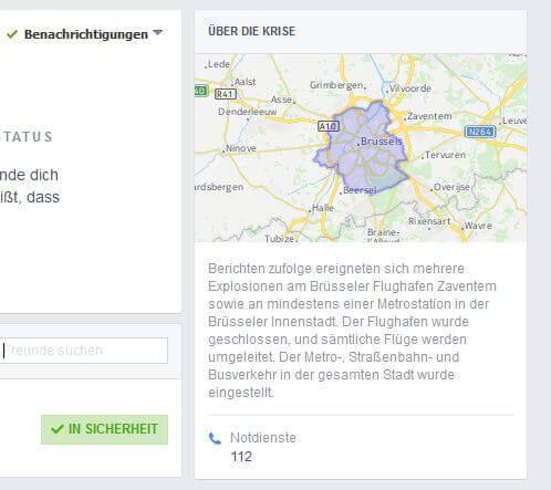 Facebook in Sicherheit Meldung