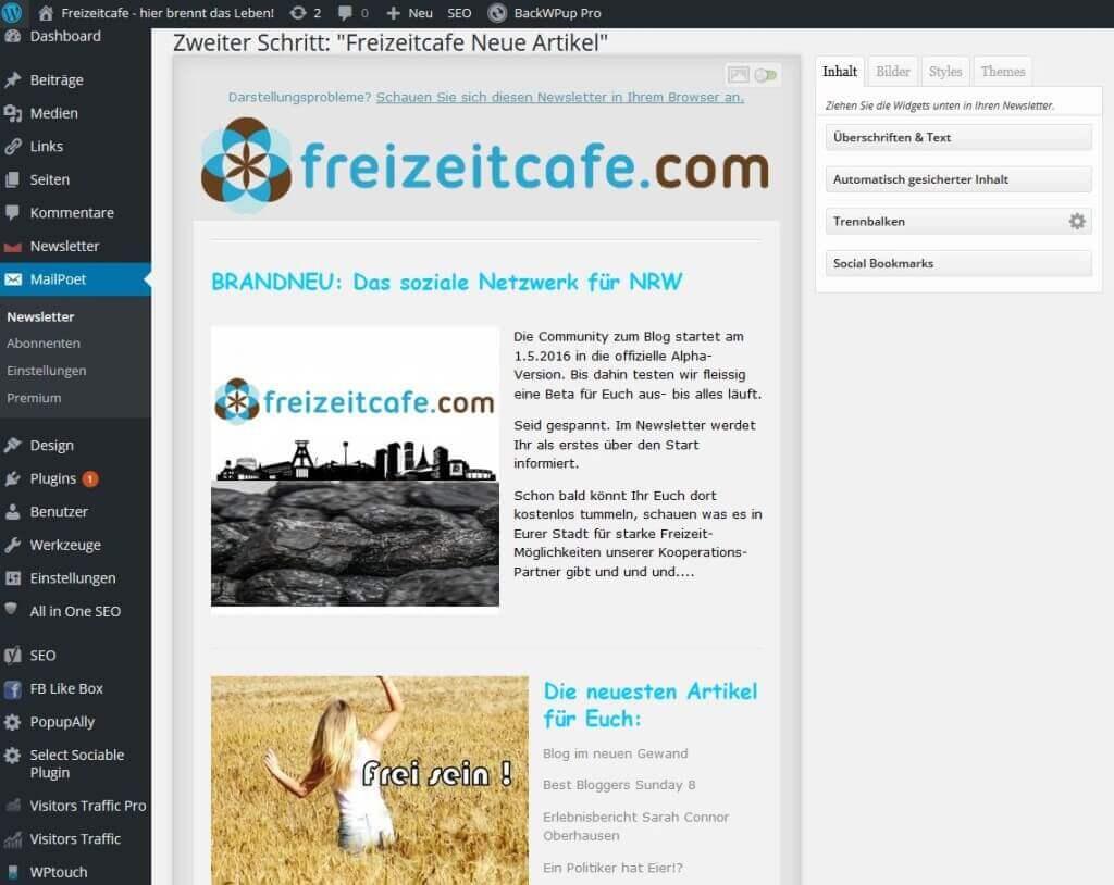 MailPoet Einrichtung WordPress