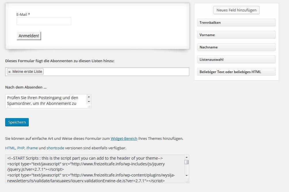 MailPoet html code finden