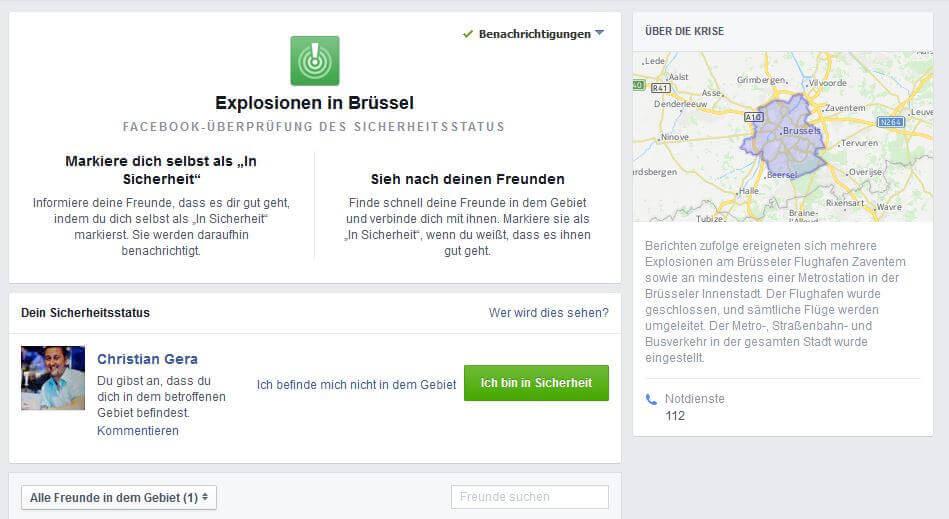 Sicherheitsmeldung Facebook Brüssel