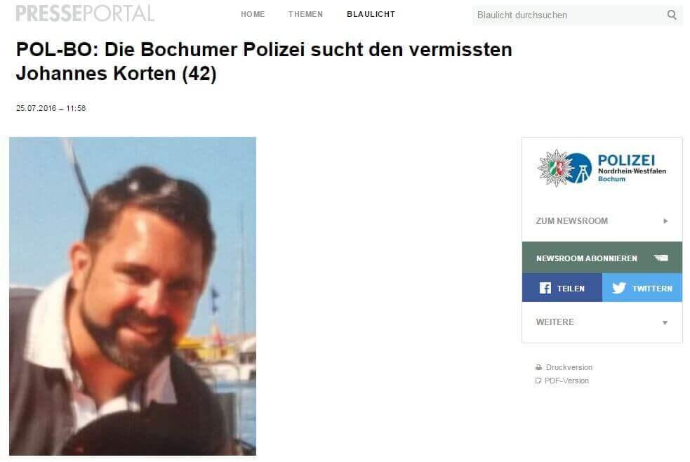Polizei Bochum Korten Aufruf