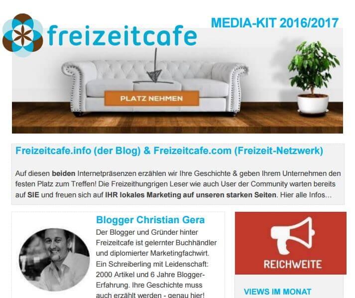 Das neue MEDIA KIT 2016 vom Freizeitcafe