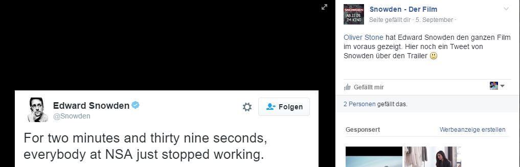 Snowden Tweet zum Film