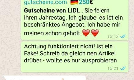 Perfide WhatsApp Nachricht von Lidl : Achtung Abzocke!