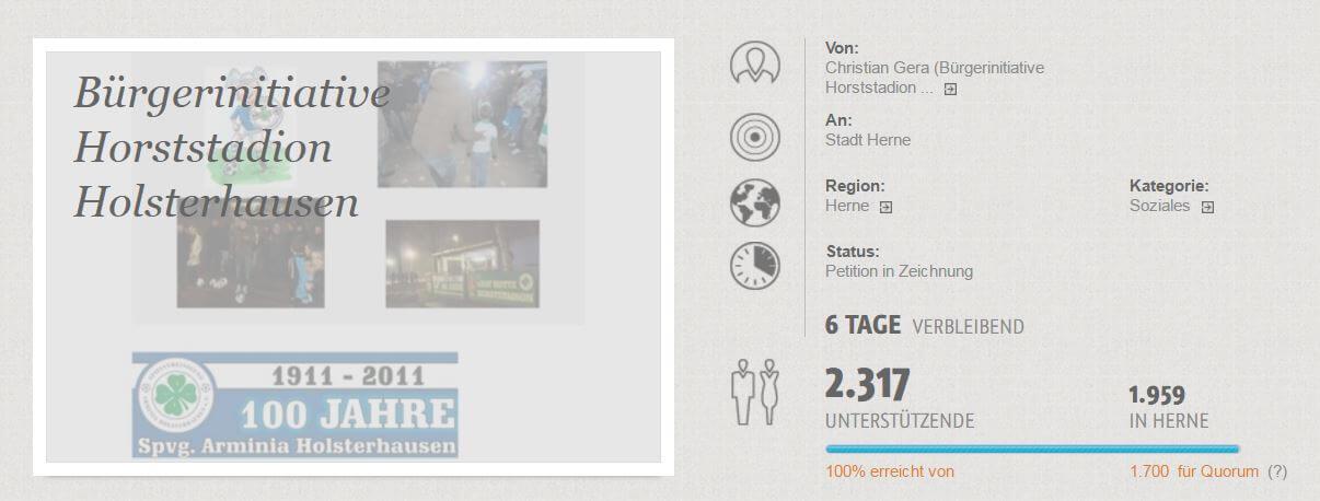 Online Bürgerinitiative Horststadion war ein voller Erfolg!